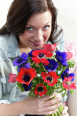 Woman with anemones