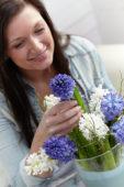 Woman with hyacinths