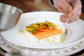 Preparing smoked salmon dish