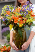 Lady with summer bouquet