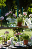 Table with summer flowers