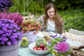 Lady at garden table
