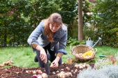 Young lady planting flower bulbs