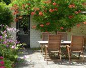 Wooden garden furniture on patio