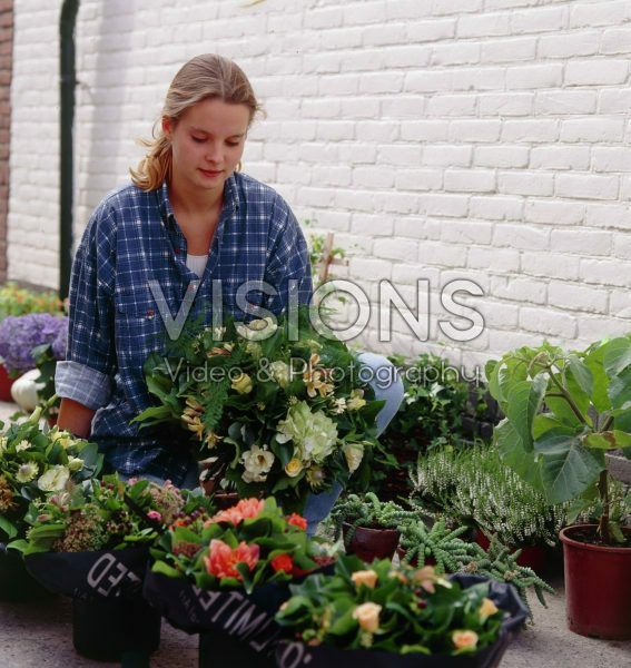 People, woman making bouquet