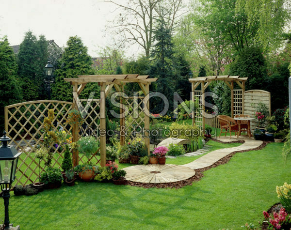 Summer garden with pergola