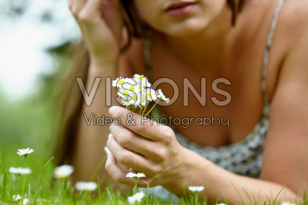 Lady with English Daisies