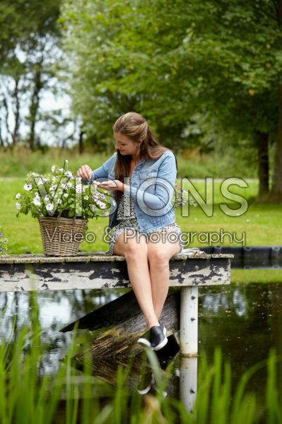 Lady enjoying at waterfront