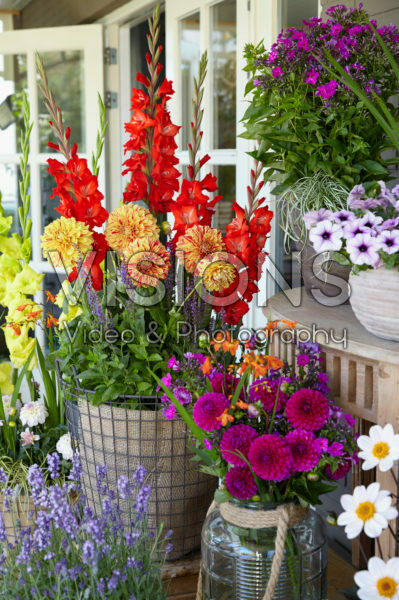 Porch with summer flowers