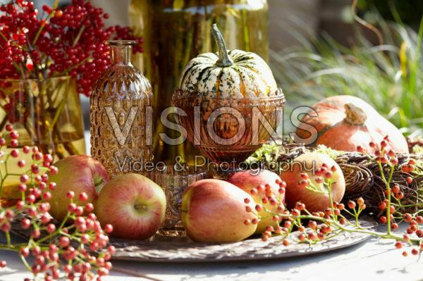 Apples, berries and pumpkins