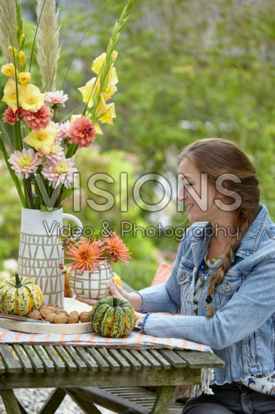 Decorating garden table
