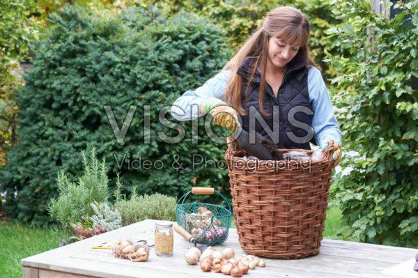 Adding soil to basket