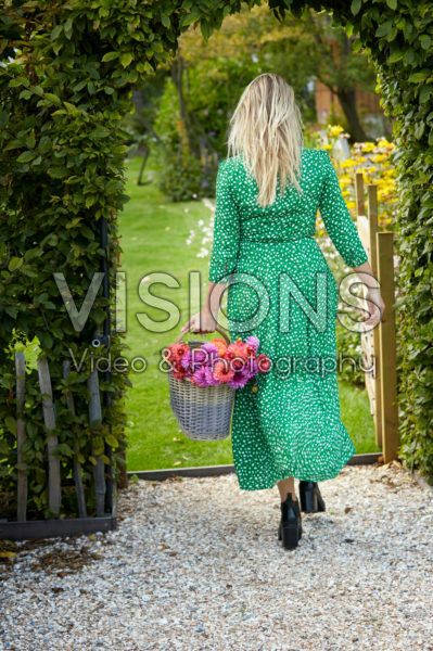 Young lady with Dahlia basket